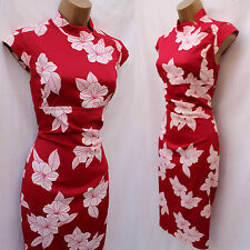 KAREN MILLEN Red White Satin Chinese Oriental Floral Cocktail Wiggle Dress 10 UK