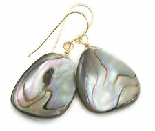 Abalone Shell Earrings 14k Gold Filled Teardrops Large Silvery Peacock Colors