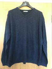 Mens TU Size XXL Navy Blue Knit V-Neck Wool Cotton Smart Casual Stretch Jumper