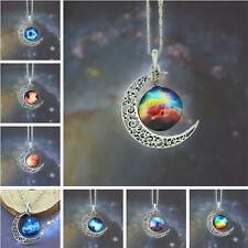1PC Fashion  Glass  Pendant Crescent Moon Womens Necklace