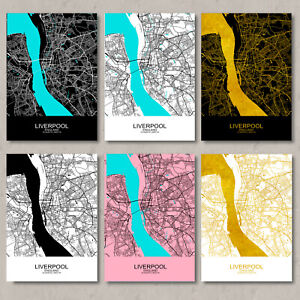 Liverpool map, print, Liverpool map poster, Liverpool city map, wall art