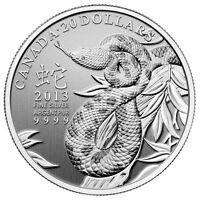 2013 Canada $20 Fine Silver Year of the Snake NO CASE