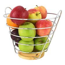 FILO CROMATO VERTICALE Cesto Di Frutta Ciotola Storage Supporto Apple arancione con base in legno