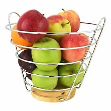 Chrome Upright Wire Fruit Bowl Basket Storage Stand Apple Orange W/ Wooden Base