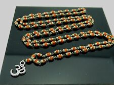 Buddhist & Hindu 3mm Natural Brown Rudraksha w/ Caps 108 Bead Linked Om Mala