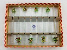 Vintage Christmas Party Swizzle Sticks Glass Handmade Barware Drink Stirs (253)