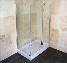 Graded 1200mm x 800mm Frameless Quadrant Shower Enclosure, Tray & Waste