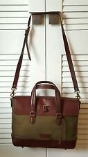 Ben Minkoff Olive Canvas and Brown Leather Briefcase *Excellent*
