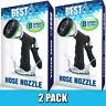 Best Adjustable Garden Hose Nozzles (HIGH PRESSURE - 8 SPRAY MODES) - 2 PACK