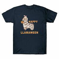 Happy Llamaween Funny Halloween Llama costume Men's T-shirt Gift Lover Tee New