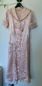 Vintage shell pink satin short sleeve day coat with covered buttons - size S