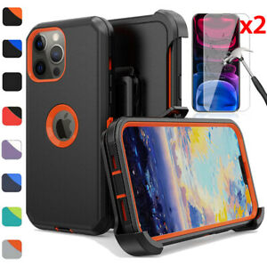 For iPhone 13/12/11/Pro/Max Phone Case Belt Clip Holster+Glass Screen Protector