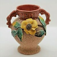 Antique Red Sand Majolica Vase Decorated with Barbotine Styled Flower