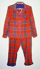 J Peterman Red and Navy Blue Tartan Plaid India Cotton Flannel Pajamas Size M