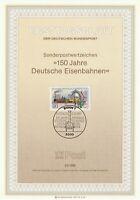 GERMANY 12 NOVEMBER 1985 ANN OF GERMAN RAILWAYS FIRST DAY PRESENTATION CARD SHS