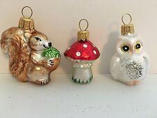 3 POLISH GLASS CHRISTMAS  ORNAMENTS WHITE OWL SQUIRREL RED MUSHROOM BY KORONEX