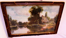 Cottage, Ducks, Pond, Trees, Rock Fence With Gate, Nice Framed Print 1920s