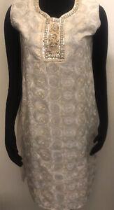 """Embroidered Ethnic Dress Kameez Kurta Tunic 38"""" Bust Ivory Bead Lined Sleeveless"""