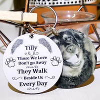 Personalised Photo Keyring Paw Prints Cat Dog Pet Memory Loss Present Gift Box