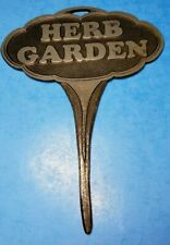Metal Herb Garden Sign Stake 7 Inch Black Silver Embossed Heavy Duty