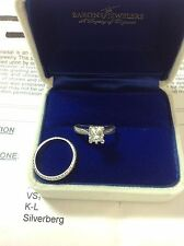TACORI VS1 Princess Cut .82 Diamond Engagement Wedding Ring Set 18K WG Estate