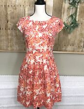 Womens Madewell Fit & Flare Floral Lace Dress sz 2 Pink Orange