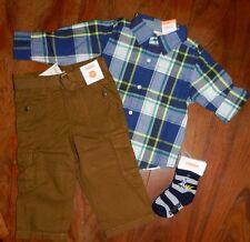 Pants Brown Cargo Set 4pc Plaid Top Gymboree Cotton Boy size 18-24 month New