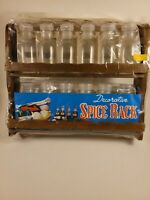 Vtg Spice Rack 12 Glass Bottles New Old Stock Country Chic Wood Herb Apothecary