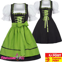 Deluxe Ladies Oktoberfest Costume Green Bavarian Beer Maid Dirndl Fancy Dress