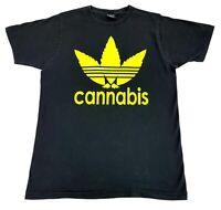 Vintage Cannabis Leaf A.D.I.D.A.S. Logo Tee Black Size XL Mens T Shirt