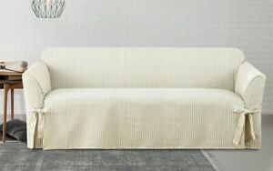 New Sure Fit Ticking Stripe loveseat size cotton couch Slipcover light blue