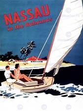 TRAVEL NASSAU BAHAMAS BEACH SEA OCEAN YACHT BOAT ART PRINT POSTERBB7579B
