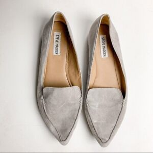 Steve Madden Women Flats Sz 10 Grey Feather Suede Pointed Toe Loafers Classic