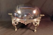 """SUPERB 9"""" ~ SILVER Plated ~ Rollover SERVING Dish W LIONS c1890 ~ Mappin & Webb"""