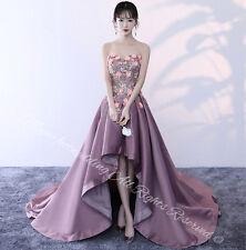 BEAUTIFUL HI LOW LILAC Asymmetrical Evening Prom Ball Dress Flower Long Tail