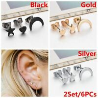 2Set/6PCs Tiny Minimalist Earrings Set Ear Stud Moon Star Heart Jewelry