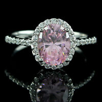 9ct Oval Cut Pink Sapphire 9k White Gold Over D/VVS1 2.30 Carat Engagement Ring