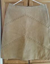 """NWT Brand is """"PRETTY V GOOD"""" SUEDE LEATHER LINED SKIRT SZ LARGE Beige Tan"""