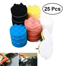 "25pcs 3"" Global Car Detailing Waxing Polishing Buffer Pad Set Foam+Drill Adapter"