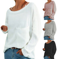 Women Casual Pocket Long Sleeve T Shirt Fall Blouse Loose Pullover Tunic Tops
