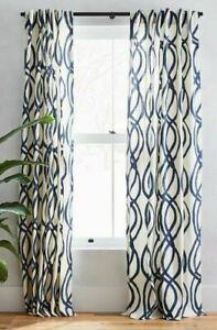 "West Elm 84"" Midnight Blue Scribble Lattice Canvas Curtain Panels"