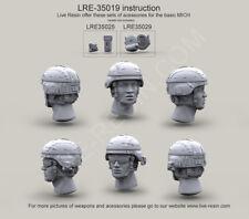 Live resin, 1/35,LRE 35019, US Army Casque Avec Housse et Surefire HL1-A
