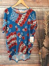 00004000 New listing Nwt Lularoe Irma xsmall Big Floral Flag Patriotic 4Th Of July Short Sleeve Shirt