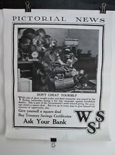 Vintage WWI Poster,PICTORIAL NEWS,1918,DON'T CHEAT YOURSELF,WSS,War Savings Stmp