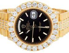 18K Yellow Gold Rolex President Black 36MM 18038 Day-Date Diamond Watch 12.0 Ct