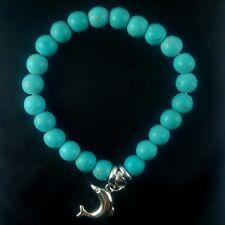 Blue Bohemian Vintage Retro Turquoise Dolphin Bracelet Beads Silver 16cm