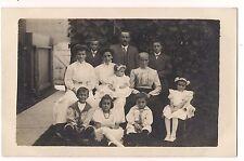 RPPC GROUCHY GRANDMA Family Group Pic Vintage POSTCARD Children Sailor Suits