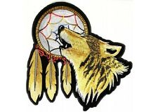 """(L24) Large HOWLING WOLF DREAM CATCHER 12"""" x 12"""" iron on back patch (3121)"""