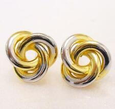 fashion1uk Women Lady Yellow White Multi Gold Plated Shell Twist Stud Earrings