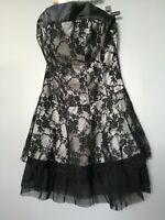 vêtement 38 femme fille ado robe sans manches effet satin doublé dentelle noir